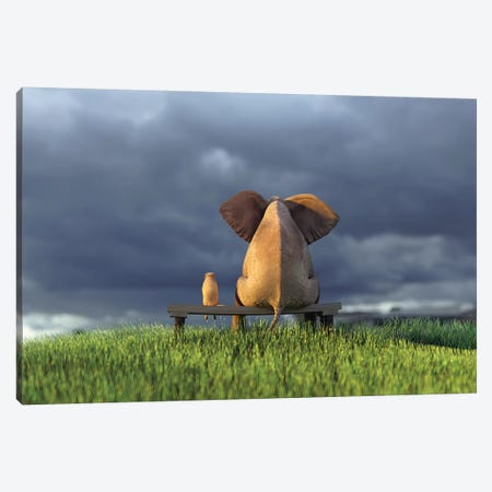 Elephant And Dog Sit On Green Grass Field Canvas Print #MII35} by Mike Kiev Canvas Print