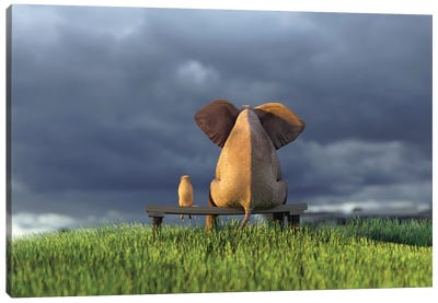 Elephant And Dog Sit On Green Grass Field Canvas Art Print