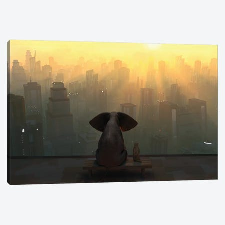 Elephant And Dog Sit On The Roof Of A Skyscraper Canvas Print #MII36} by Mike Kiev Canvas Print