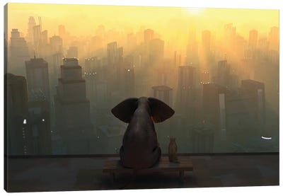 Elephant And Dog Sit On The Roof Of A Skyscraper Canvas Art Print