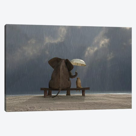 Elephant And Dog Sit Under The Rain Canvas Print #MII37} by Mike Kiev Art Print