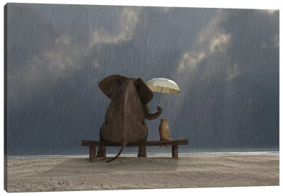 Elephant And Dog Sit Under The Rain Canvas Art Print