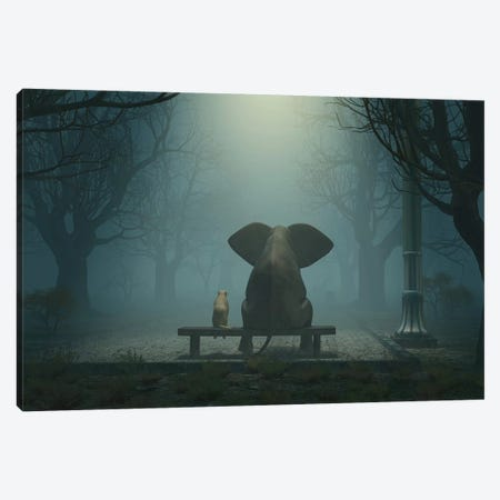 Elephant And Dog Sitting In A Gloomy Park Canvas Print #MII38} by Mike Kiev Canvas Artwork