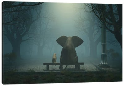 Elephant And Dog Sitting In A Gloomy Park Canvas Art Print