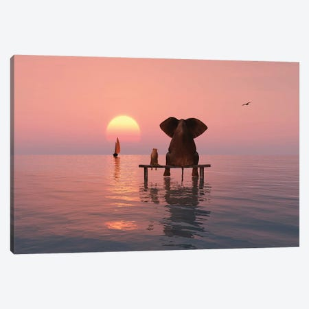 Elephant And Dog Sitting In The Sea Canvas Print #MII39} by Mike Kiev Canvas Artwork