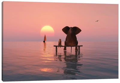Elephant And Dog Sitting In The Sea Canvas Art Print