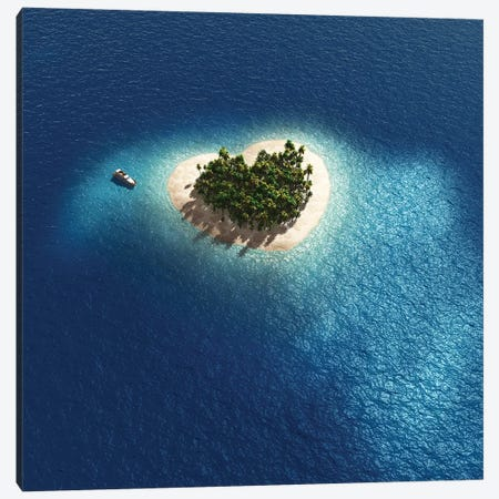 Aerial View Of Heart Shape Tropical Island Canvas Print #MII3} by Mike Kiev Canvas Wall Art