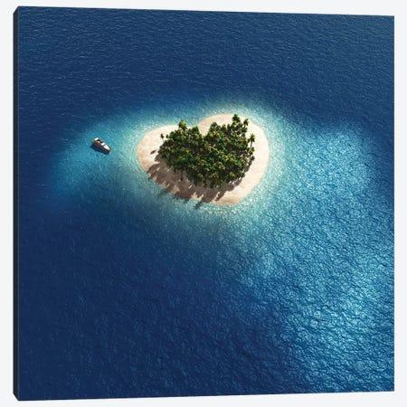 Aerial View Of Heart Shape Tropical Island Canvas Print #MII3} by Mike Kiev Canvas Wall Art