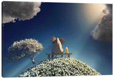 Elephant And Dog Sitting On A Spring Planet Canvas Art Print