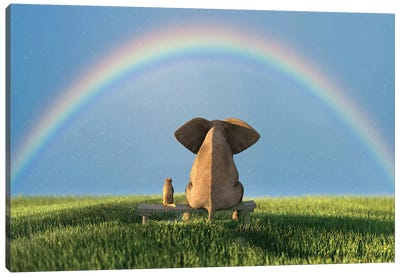 Elephant And Dog Sitting Under The Rainbow On A Green Grass Field Canvas Art Print