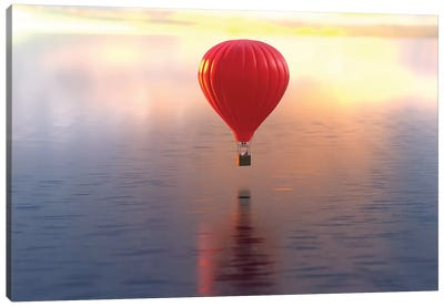 Hot Air Balloon Flies Over Water Canvas Art Print