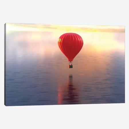 Hot Air Balloon Flies Over Water Canvas Print #MII44} by Mike Kiev Canvas Wall Art