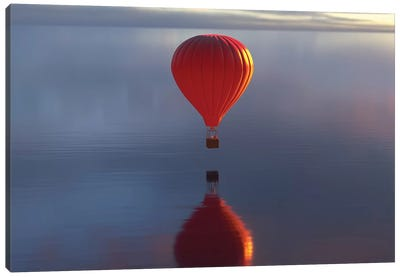 Hot Air Balloon Flies Over Water II Canvas Art Print