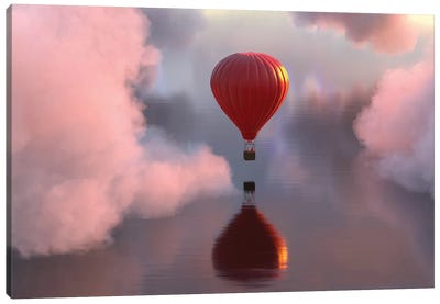 Hot Air Balloon Flies Over Water III Canvas Art Print