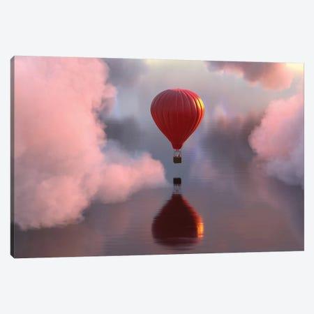 Hot Air Balloon Flies Over Water III 3-Piece Canvas #MII46} by Mike Kiev Canvas Art