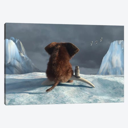 Mammoth And Dog Looking On Glacier Canvas Print #MII47} by Mike Kiev Canvas Artwork