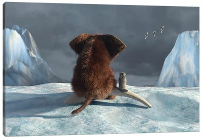 Mammoth And Dog Looking On Glacier Canvas Art Print