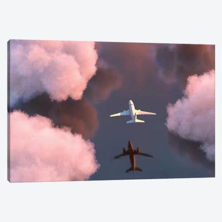 Airplane Flies Over The Water Canvas Print #MII4} by Mike Kiev Canvas Art Print