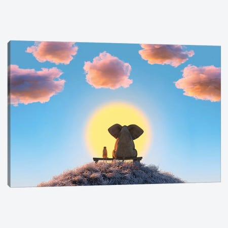 Elephant And Dog Are Sitting On A Hill Canvas Print #MII50} by Mike Kiev Canvas Art