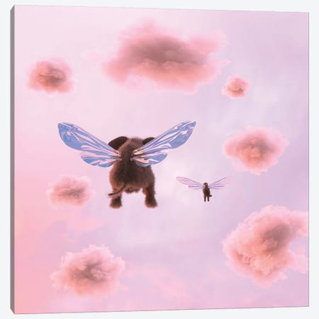 Elephant And Dog Are Flying In The Clouds Canvas Print #MII51} by Mike Kiev Canvas Wall Art