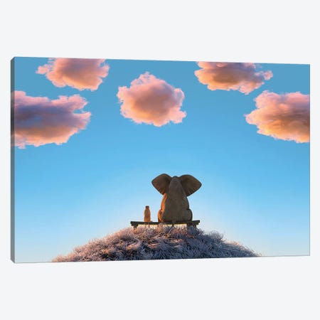 Elephant And Dog Are Sitting On A Hill II Canvas Print #MII52} by Mike Kiev Canvas Art