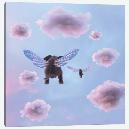 Elephant And Dog Are Flying In The Sky Canvas Print #MII53} by Mike Kiev Canvas Art