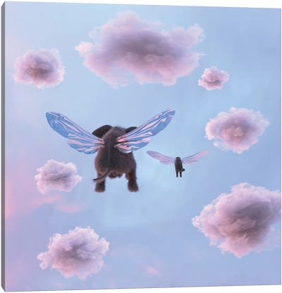 Elephant And Dog Are Flying In The Sky Canvas Art Print