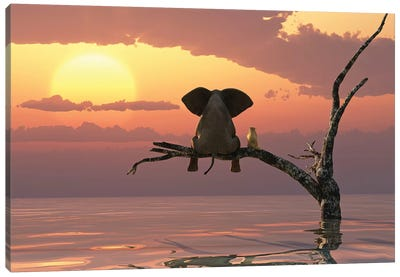 Elephant And Dog Sit On A Tree During A Flood Canvas Art Print