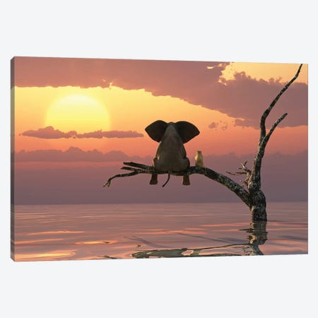 Elephant And Dog Sit On A Tree During A Flood Canvas Print #MII61} by Mike Kiev Art Print