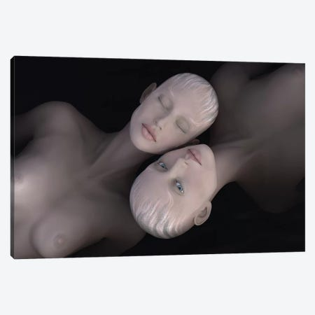 Two Women Lies In Dark Water Canvas Print #MII62} by Mike Kiev Canvas Art Print