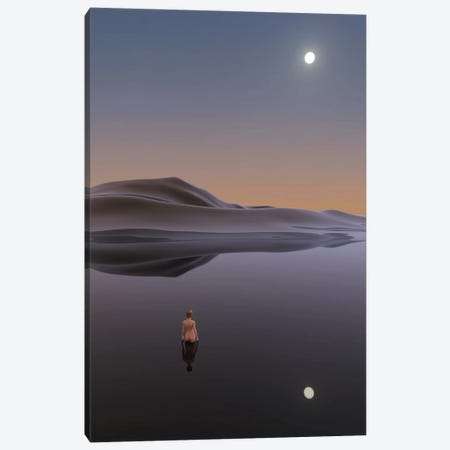 Woman Bathes In Calm Water Canvas Print #MII63} by Mike Kiev Canvas Print