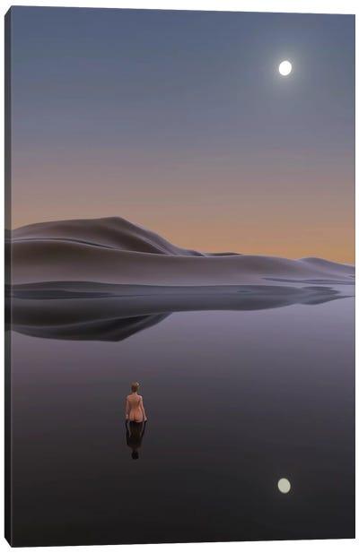 Woman Bathes In Calm Water Canvas Art Print