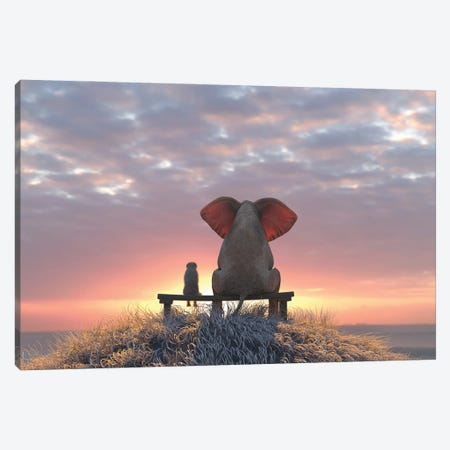 Elephant And Dog Watch The Sunrise On The Seashore Canvas Print #MII65} by Mike Kiev Canvas Artwork