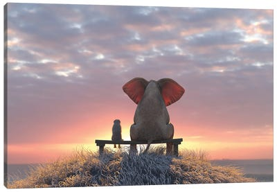 Elephant And Dog Watch The Sunrise On The Seashore Canvas Art Print