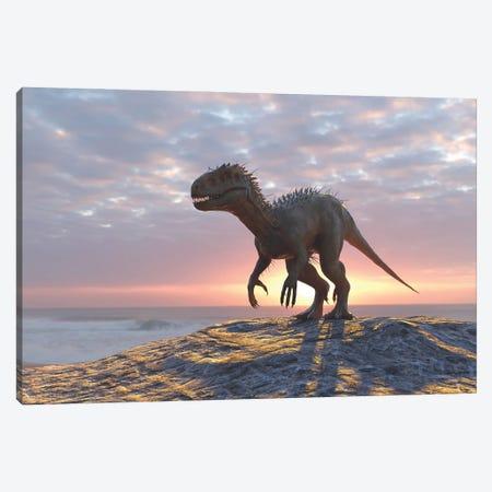 Dinosaur On A Sea Beach Canvas Print #MII66} by Mike Kiev Canvas Artwork