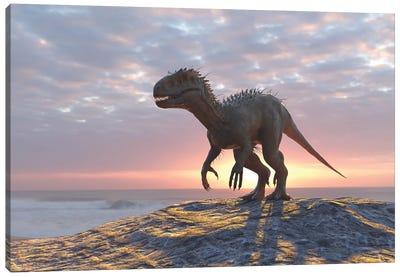 Dinosaur On A Sea Beach Canvas Art Print