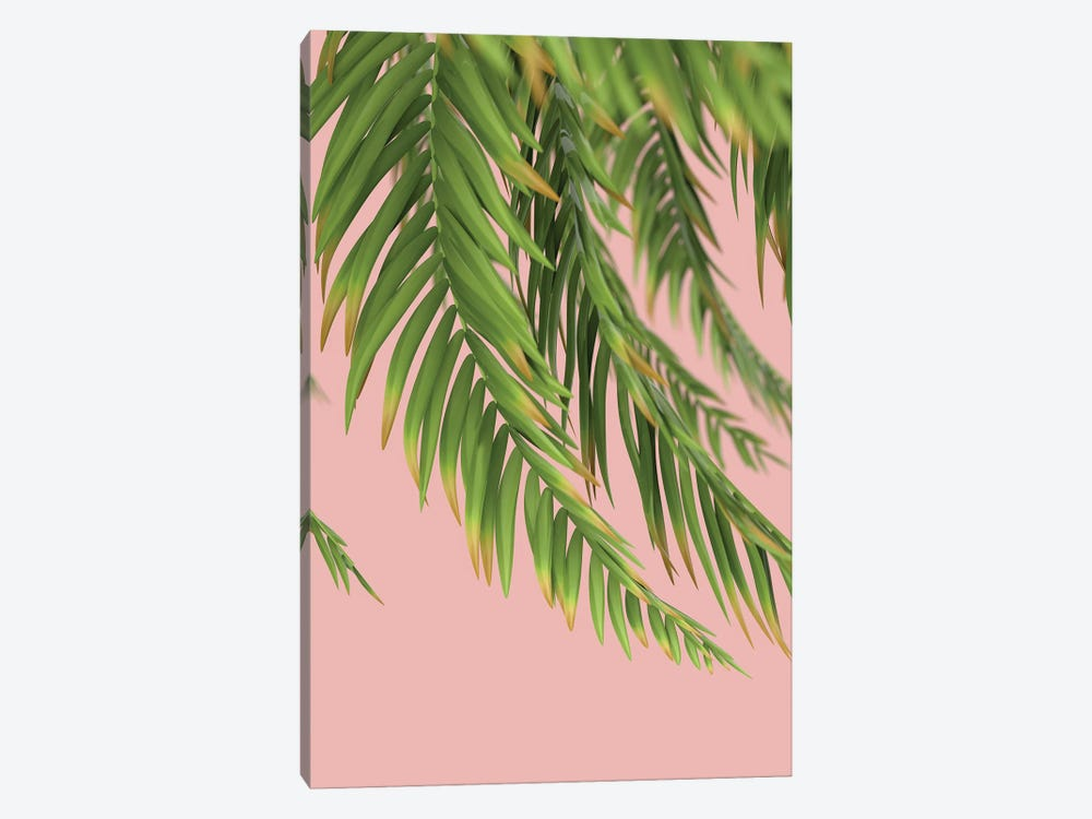 Palm Branch On A Peach Background I Vertical by Mike Kiev 1-piece Canvas Art