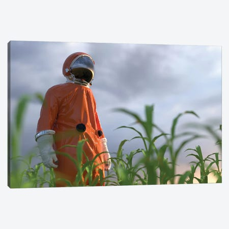 Astronaut On A Green Field Canvas Print #MII6} by Mike Kiev Canvas Print