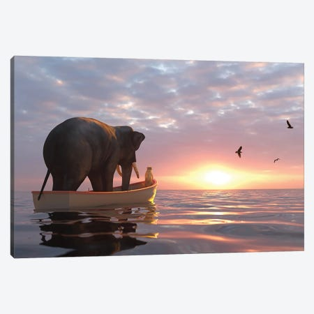 Elephant And Dog Sail In A Boat At Sea Canvas Print #MII79} by Mike Kiev Canvas Wall Art