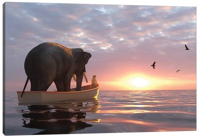 Elephant And Dog Sail In A Boat At Sea Canvas Art Print