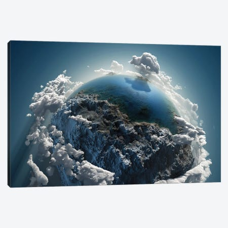 Cloud Earth In Space 3-Piece Canvas #MII7} by Mike Kiev Canvas Print