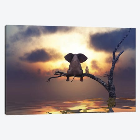 Elephant And Dog Are Sitting On A Tree Canvas Print #MII82} by Mike Kiev Canvas Print