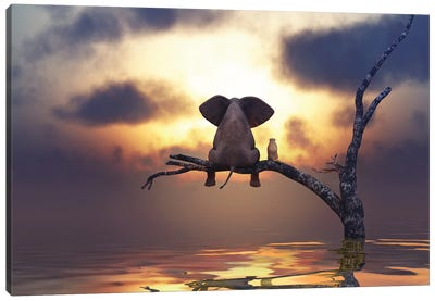 Elephant And Dog Are Sitting On A Tree Canvas Art Print