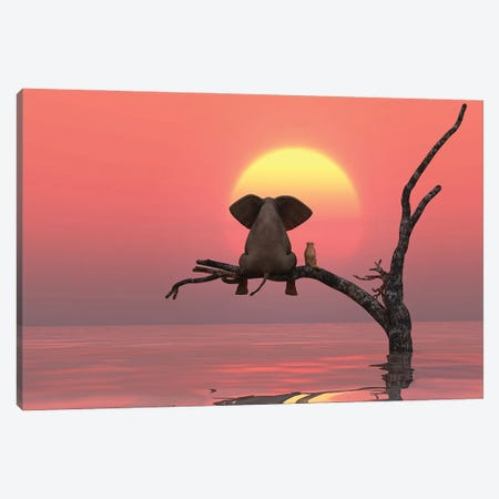 Elephant And Dog Are Sitting On A Tree At Red Sunset Canvas Print #MII83} by Mike Kiev Art Print