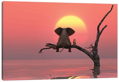 Elephant And Dog Are Sitting On A Tree At Red Sunset Canvas Art Print