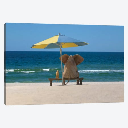 elephant and dog sit under an umbrella on the sea beach Canvas Print #MII85} by Mike Kiev Canvas Art