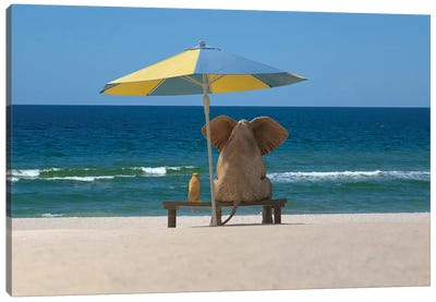 elephant and dog sit under an umbrella on the sea beach Canvas Art Print