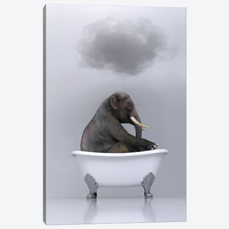 elephant relaxing in the bath Canvas Print #MII90} by Mike Kiev Canvas Wall Art