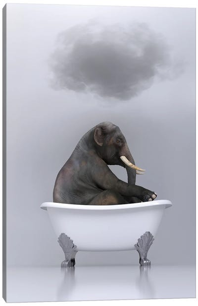 elephant relaxing in the bath Canvas Art Print