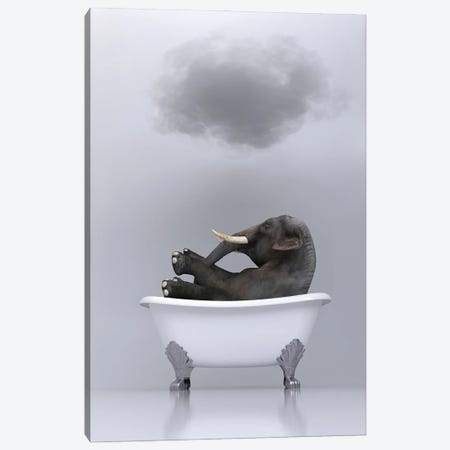 elephant relaxing in the bath 2 Canvas Print #MII91} by Mike Kiev Canvas Art